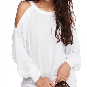 free people white cold shoulder top!!